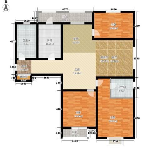 中铁四季公馆3室1厅2卫1厨168.00㎡户型图