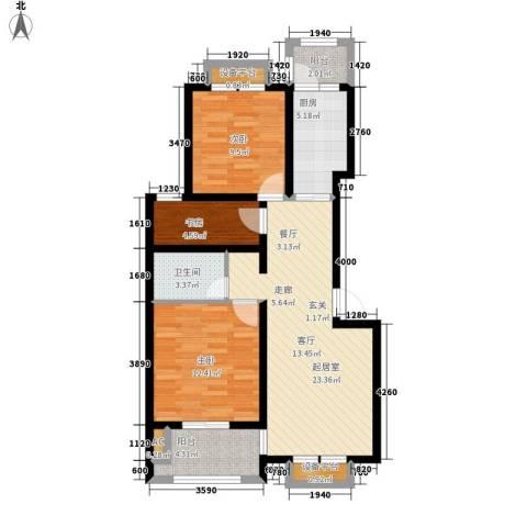 尼盛西城3室0厅1卫1厨78.00㎡户型图