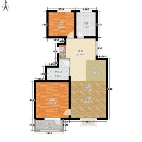中铁四季公馆2室1厅1卫1厨97.00㎡户型图