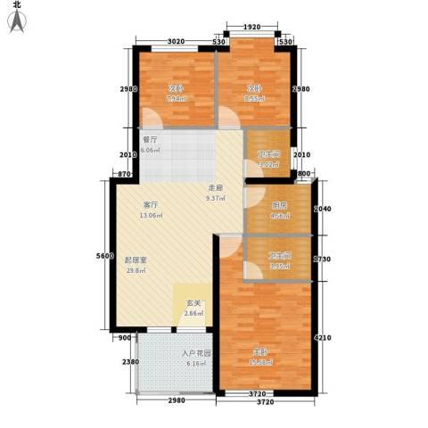 鸿坤理想海岸3室0厅2卫1厨111.00㎡户型图