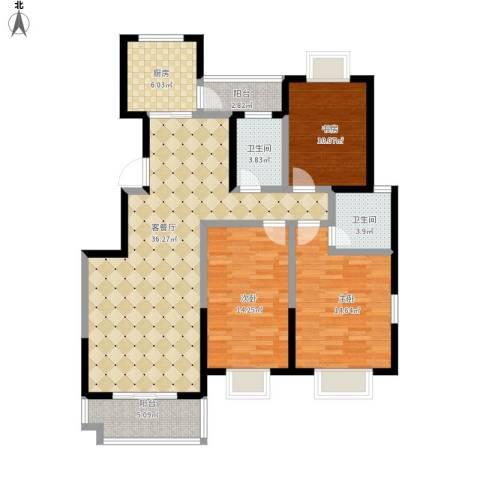 启迪・书香逸居3室1厅2卫1厨140.00㎡户型图