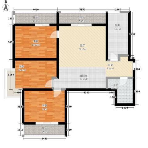 九如御3室0厅1卫1厨125.00㎡户型图