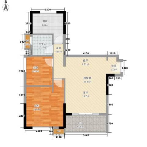 万科松山湖悦2室0厅1卫1厨88.00㎡户型图