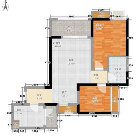 绿云国际纺织服装城2室0厅1卫1厨78.00㎡户型图