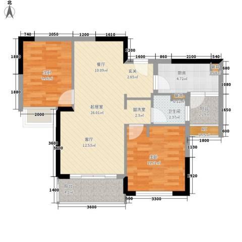 万科松山湖悦2室0厅1卫1厨80.00㎡户型图