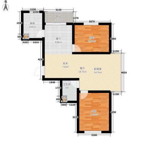 展轮新世界2室0厅1卫1厨99.00㎡户型图
