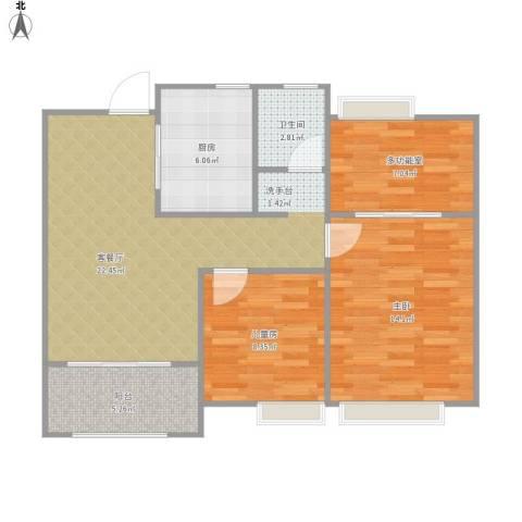 新新家园2室1厅1卫1厨90.00㎡户型图