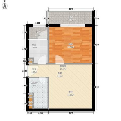 展轮新世界1室0厅1卫1厨63.00㎡户型图