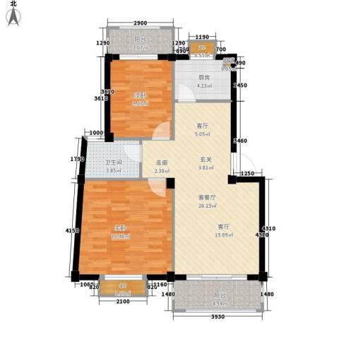 唐园假日新城2室1厅1卫1厨90.00㎡户型图