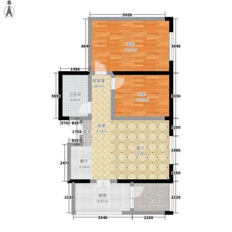 银座晶都国际2室0厅1卫1厨92.00㎡户型图