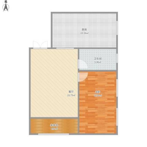 福旺花园1室1厅1卫1厨86.00㎡户型图
