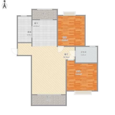 月星公馆2室1厅1卫1厨122.00㎡户型图