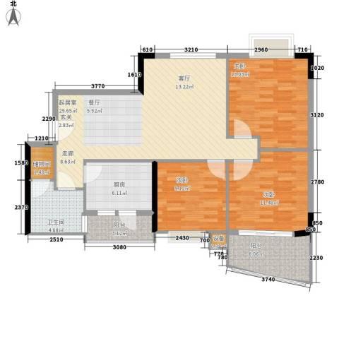 江南新苑3室0厅1卫1厨95.00㎡户型图