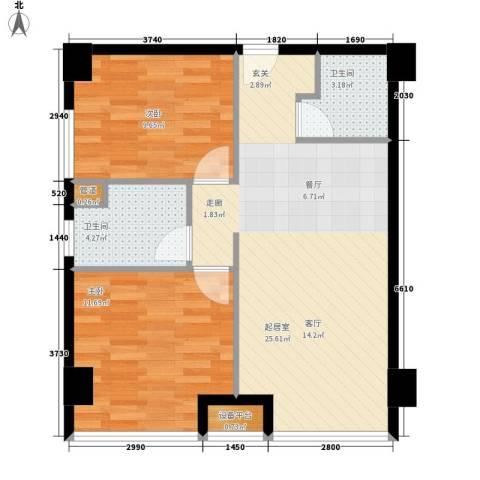 绿城慈园2室0厅2卫0厨78.00㎡户型图