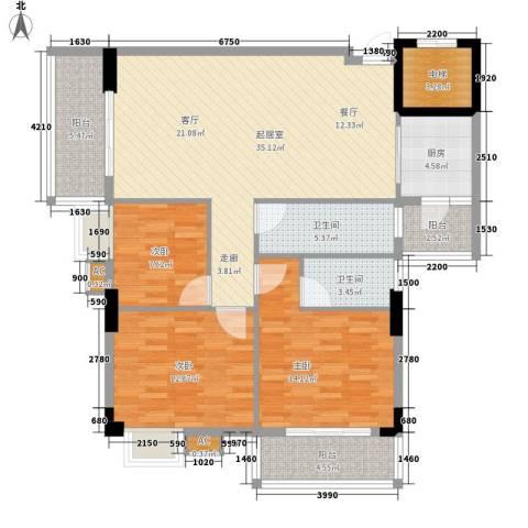 丽园雅庭3室0厅2卫1厨113.00㎡户型图