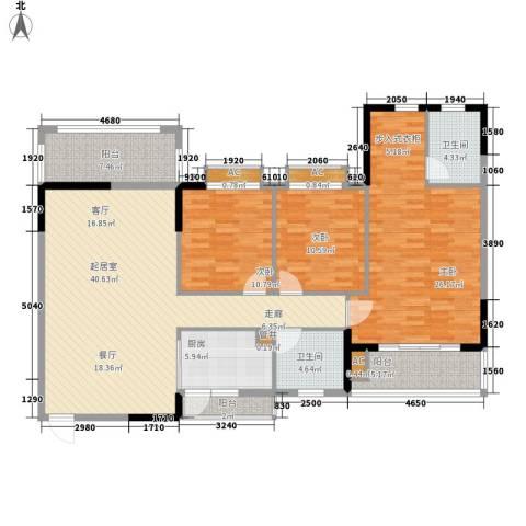 金河湾家园3室0厅2卫1厨135.00㎡户型图