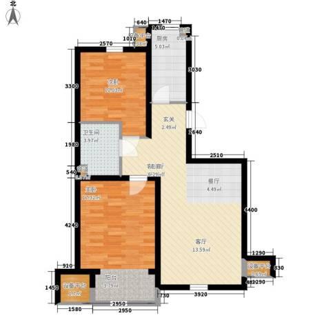 华城领秀2室1厅1卫1厨91.00㎡户型图