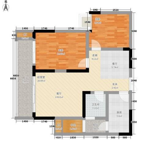 恒春凤凰城2室0厅1卫1厨104.00㎡户型图
