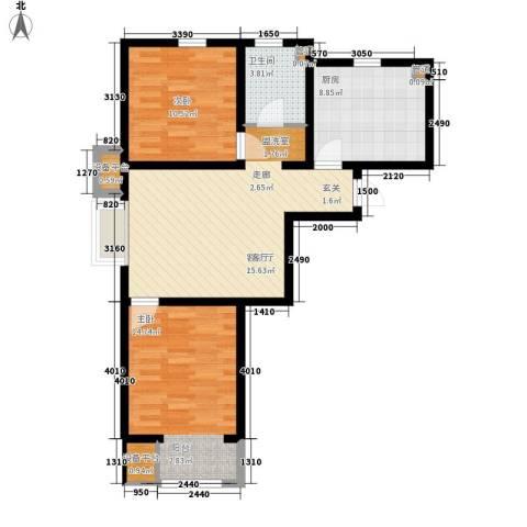 华城领秀2室1厅1卫1厨89.00㎡户型图