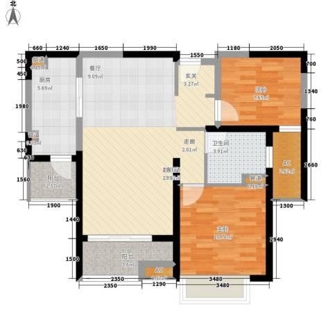 和风雅致2室0厅1卫1厨90.00㎡户型图