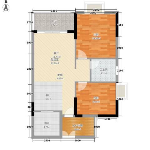 狮子洋1号2室0厅1卫1厨85.00㎡户型图