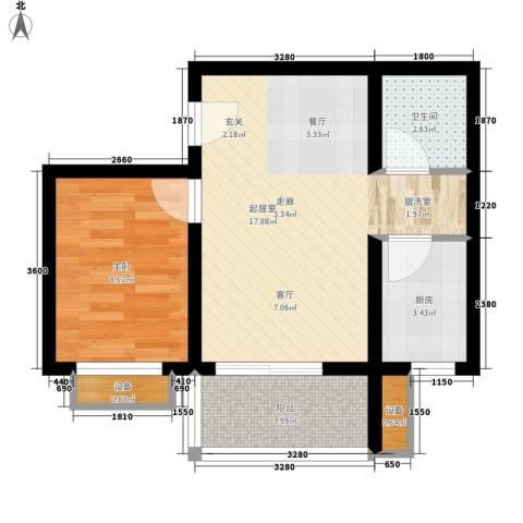 晶筑逸品1室0厅1卫1厨54.00㎡户型图