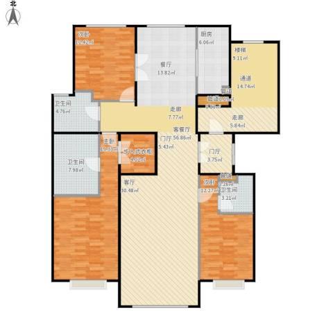 北京城建·世华龙樾3室1厅3卫1厨197.00㎡户型图