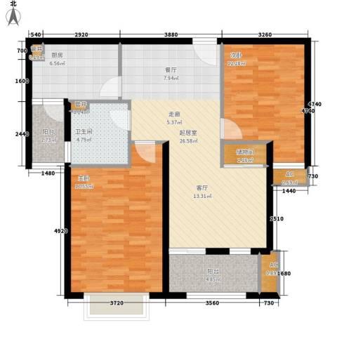 奥园印象高迪2室0厅1卫1厨89.59㎡户型图