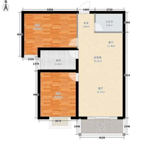 塔元庄园滹沱半岛2室0厅1卫1厨114.00㎡户型图