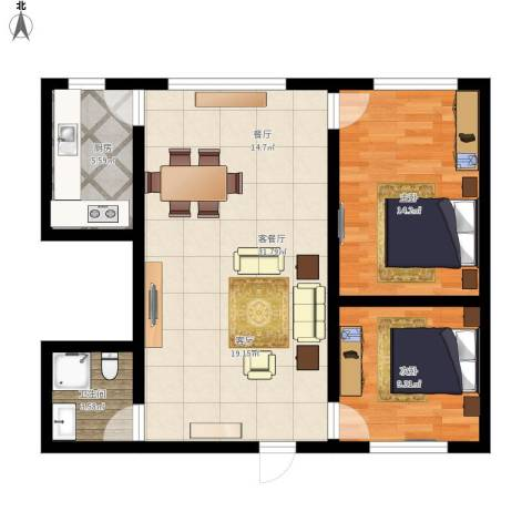 帝豪天成2室1厅1卫1厨91.00㎡户型图