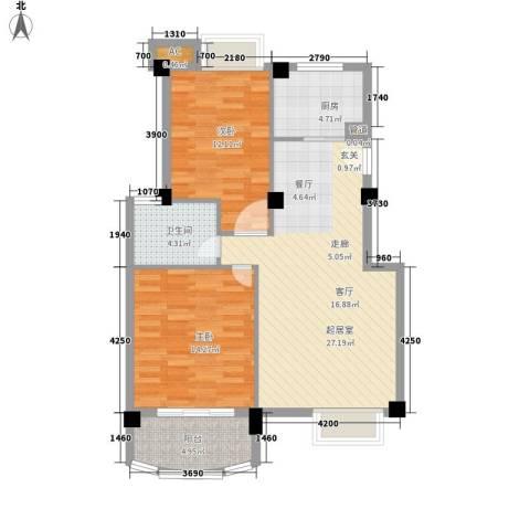 尼盛西城2室0厅1卫1厨87.00㎡户型图