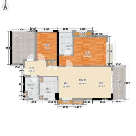 万科松山湖悦2室0厅2卫1厨96.00㎡户型图