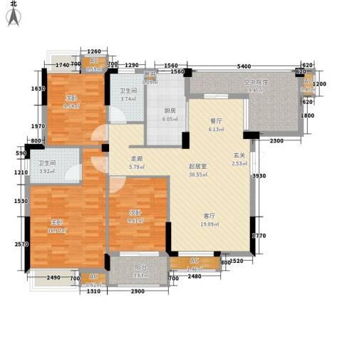 君融天湖3室0厅2卫1厨118.00㎡户型图