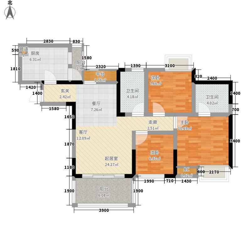 绿云国际纺织服装城97.76㎡绿云・国际纺织服装城一期10号楼标准层2、7号房户型
