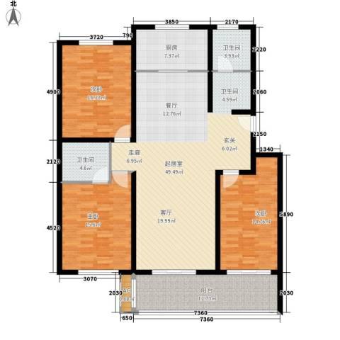 南石湖花园3室0厅2卫1厨160.00㎡户型图