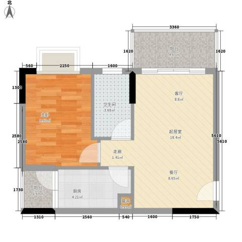 惠百氏广场1室0厅1卫1厨49.00㎡户型图