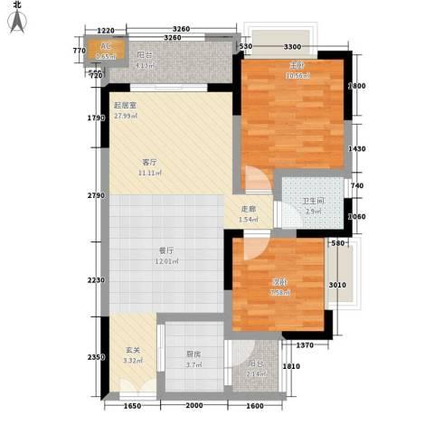 恒春凤凰城2室0厅1卫1厨81.00㎡户型图