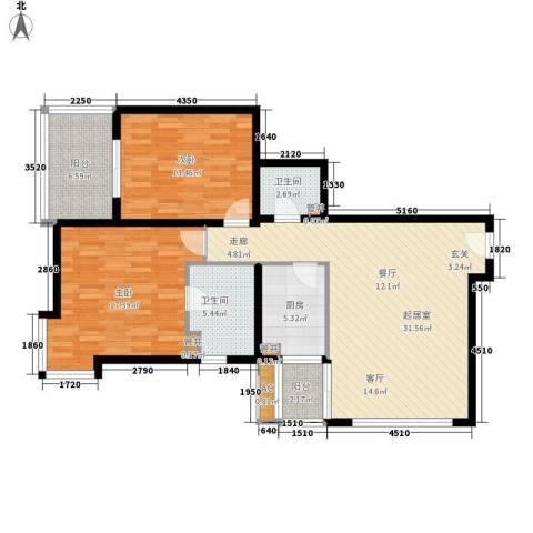 太空花园2室0厅2卫1厨97.00㎡户型图