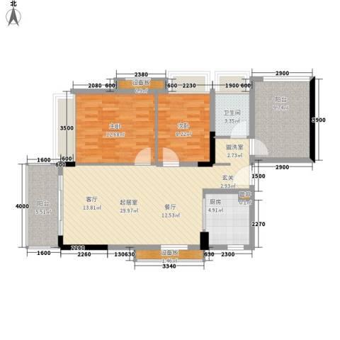 万科松山湖悦2室0厅1卫1厨95.00㎡户型图
