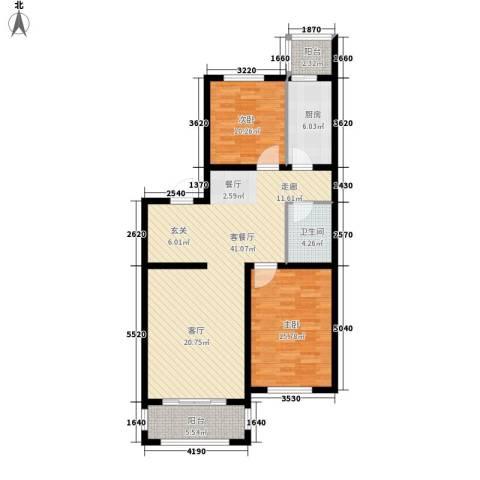 左岸公园2室1厅1卫1厨97.00㎡户型图