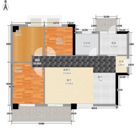 尚领时代3室1厅1卫1厨98.00㎡户型图