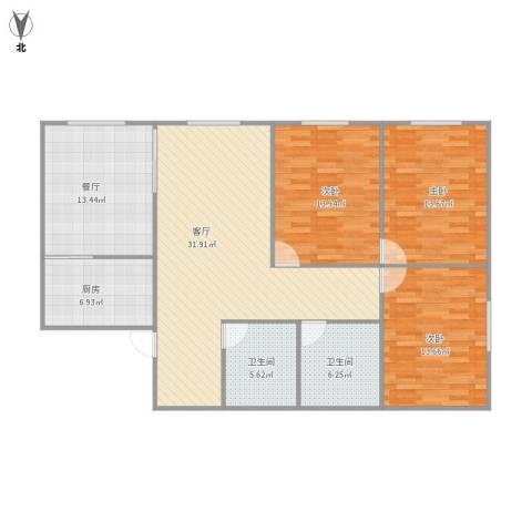 山景明珠花园3室2厅2卫1厨141.00㎡户型图