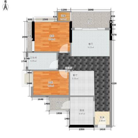 尚领时代2室1厅1卫1厨75.00㎡户型图