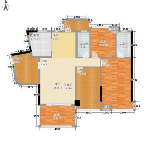 景源公园一号3室1厅2卫1厨152.00㎡户型图