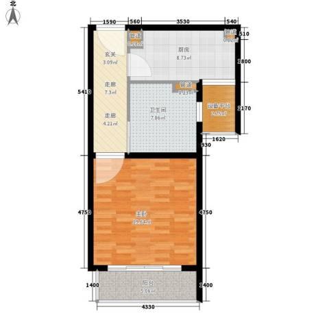顺泽翠屏湾1室0厅1卫1厨61.00㎡户型图