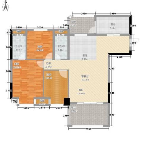 景源公园一号3室1厅2卫1厨119.00㎡户型图