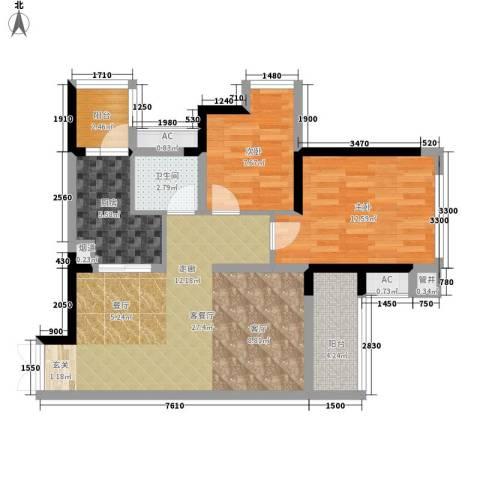 首信皇冠假日2室1厅1卫1厨80.00㎡户型图