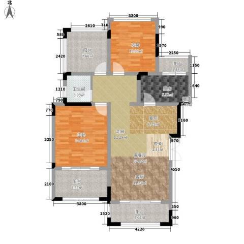 首信皇冠假日2室1厅1卫1厨88.51㎡户型图