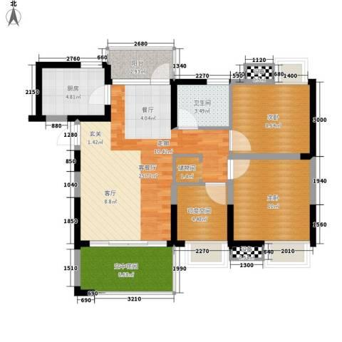 新港国际花园2室1厅1卫1厨88.00㎡户型图