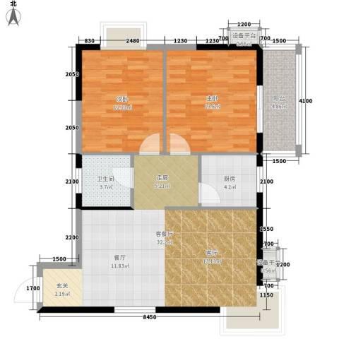 旺园大厦2室1厅1卫1厨96.00㎡户型图